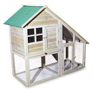 Poulailler Abri petits animaux espace libre avec 2 étages et enclos Abri pour rongeurs