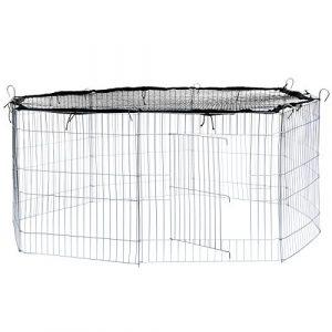 TecTake Enclos extérieur avec filet de protection pour petits animaux   Diamètre env. 145 cm   Noir