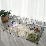 SONGMICS Enclos réglable pour petits animaux et cochon d'Inde Avec marteau en caoutchouc Adapté à l'enclos intérieur Assemblage flexible 143 x 73 x 36 cm (L x l x h) Noire LPI01H