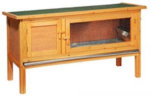 dobar 23306FSC Clapier pour petits animaux classique en bois de conifères imperméable, avec bassine en zinc, pièce de repos et toit ouvrant, 115 x 45 x 66 cm