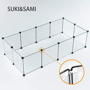 Suki et Sami Enclos pour Petit Animal Cage DIY Portable Cage pour Animaux en intérieur, Exercice Stylo Cour Clôture pour Cochon d'Inde, Lapins 35* 35Blanc