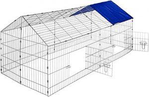 Maxx – Enclos Lapin métal – Extérieur Parc Clapier à Lapin – 180 x 75 cm + Bache Protection UV Inclus