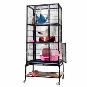 Tsdhjk Cage de Transport en métal à roulettes pour Petits Animaux domestiques Noir