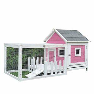 Zengqhui Animaux en Plein air Maison Chien Cage Chat Villa Lapin Cage Nest Pet Maison Cat Dog Kennel Pet Shelter Best Pet Garden Houses (Couleur : Pink, Size : 144x73x81cm)