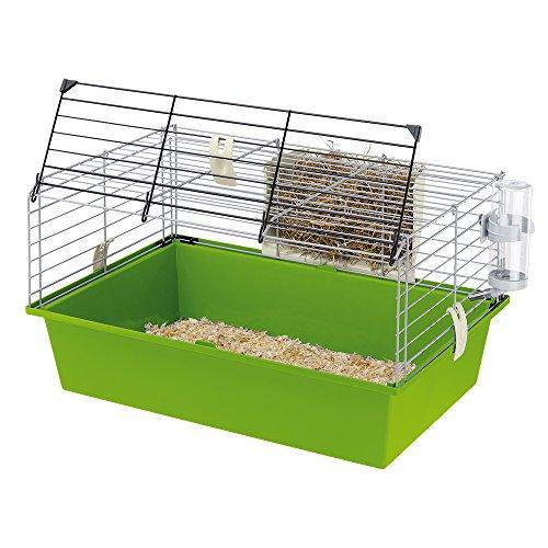 Ferplast Cage pour Cochons D'Inde Cavie 60, Système de Fermeture de Sécurité, Accessoires Inclus, en Métal Vernis Gris et Bac en Plastique, 58 X 38 X H 31,5 cm