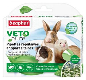 Beaphar – VETOpure, pipettes répulsives antiparasitaires – rongeurs et petits mammifères – 6 pipettes
