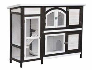 Clapier en Lapin spacieux/clapier Lapin extérieur Jumbo – imperméable – Deux etages – Nettoyage Facile – 145 x 48 x 109 cm – Marron/Blanc