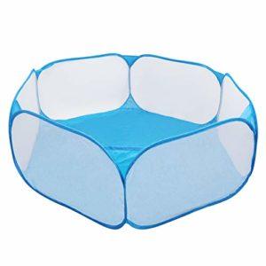 Coolty Parc Portable pour Petits Animaux, Oxford Clôture Petit Animal Respirant Parc Transparent Populaire Ouvert pour Cobaye, Lapins, Hamster, Chinchillas et Hérissons (Blue)