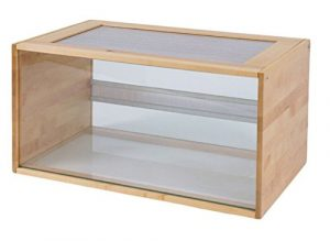 En bois et verre Pour Terrarium–avec panneaux aérés, une entrée avec une pratique servo-lift–Une maison idéale pour votre petit pelleteuses