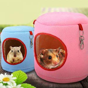 Garciaria Chaud Rat Rat Hamac Écureuil Hiver Jouets Pet Hamster Cage Durable Nid Suspendu Jouet Confortable Pet Supplies (Couleur: Bleu) (Taille :)