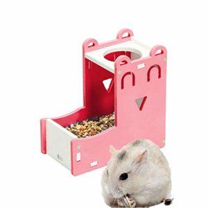 lffopt Biberon Rongeurs Distributeur De Croquettes Lapin Alimentaire Distributeur Chargeur écureuil Guinée Porc Alimentaire Bol Petit Alimentation Animale Pink
