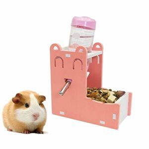 lffopt Biberon Rongeurs Distributeur De Croquettes Lapin Alimentaire Distributeur Chargeur écureuil Guinée Porc Alimentaire Bol Petit Alimentation Animale Set-Pink