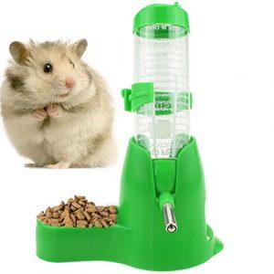 Newweic Bouteille d'eau pour Animal de Compagnie 125 ML avec Base de récipient à Nourriture à Suspendre Distributeur Automatique pour Hamsters, Rats, Petits Animaux, furets, Lapins, Petits Animaux