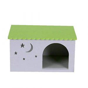 no brand Maison en Bois Hamster Rongeur Activité Hut Hamster Cabin Maison Mignon Petit Animal Fournitures pour Animaux Rat Écureuil Chinchilla Vert