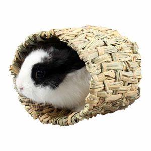 POPETPOP Cachette de Cobaye – Refuge de Lapin Tressé Hutte Dherbe Cage de Tube de Nid Cubby pour Hamster Lapin Gerbille Chinchillas