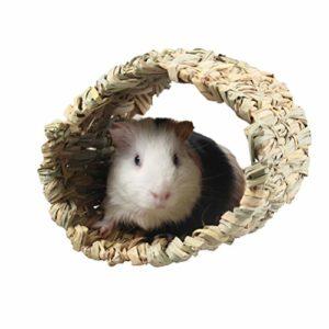 POPETPOP Cachette de Cochon Dinde – Refuge de Lapin Tressé Hutte Dherbe Cubby Nid Cage Cage pour Lapin Hamster Gerbille Chinchillas