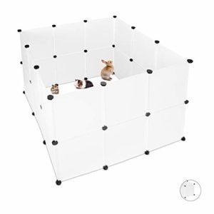 Relaxdays Enclos pour Petits Animaux Domestiques Plastique DIY Parc Extensible Cage Clapier Pack de 24, Blanc
