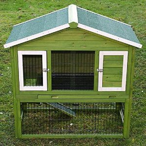 Toutes les saisons Clapier pour lapin avec enclos spacieux isotherme Vert Blanc facile à monter