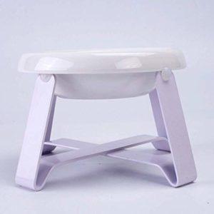 WCJ Pet Bowl Dog Bowl Table à Manger Frais Elevated en Acier Inoxydable Support Pet Food Feeder Protection des Animaux Cervical Nourrir Les Petits Animaux Arts de la Table (Color : Purple)