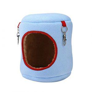 WFWUK Hamac Chat Hamac Cochon d'Inde Chaton Lit Hamster Cage Accessoires Écureuil de Couchage Sac Lits de Lapin pour L'intérieur Rat Hamacs pour Cage Blue,XL