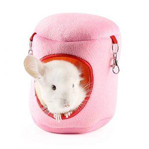 WFWUK Hamac Chat Hamac Cochon d'Inde Chaton Lit Hamster Cage Accessoires Écureuil de Couchage Sac Lits de Lapin pour L'intérieur Rat Hamacs pour Cage Pink,XL