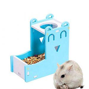 WPCASE Distributeur Nourriture Lapin Biberon Rongeurs Hamster d'alimentation Automatique d'alimentation pour Animaux de Compagnie Bols Blue
