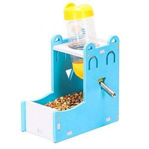 WPCASE Distributeur Nourriture Lapin Biberon Rongeurs Hamster d'alimentation Automatique d'alimentation pour Animaux de Compagnie Bols Set-Blue