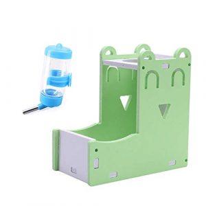 WPCASE Distributeur Nourriture Lapin Biberon Rongeurs Hamster d'alimentation Automatique d'alimentation pour Animaux de Compagnie Bols Set-Green