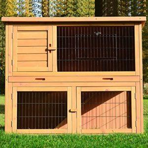 Zooprimus ❤ Cage Clapier Enclos lapin Extérieur en bois de pin ❤ Haute Qualité pour lapins petits animaux 116 x 63 x 97 cm – Modèle : 003 Happy