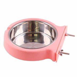 AILEE Gamelle à suspendre amovible en acier inoxydable pour chiots en plastique pour chats, lapins, oiseaux, hamsters et furets