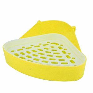 CVERY Toilette pour Animaux Compagnie Fournitures nettoe Durable Hamster Triangle Formation Portable Petit Animal Facile à Nettoyer Le Chien économise l'espace Bac à litière Coin Lapin(Jaune)