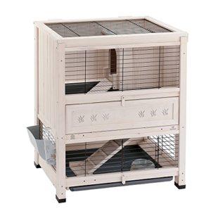 Ferplast Cottage Mini Cage Clapier d'intérieur, Bois Résistant, Structure à 2 Étages, Accessoires Inclus pour Lapins, Cochons d'inde, 78,5 x 59,5 x 94 cm