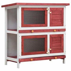 Festnight Clapier d'extérieur 4 Portes pour Lapins – Clapier Lapin 2 Etages en Bois Rouge