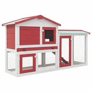 Festnight Clapier Large d'extérieur pour Lapins – Clapier Lapin 2 Etages 145x45x85 cm en Bois – Clapier Cochon Dinde Rouge et Blanc