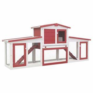 Festnight Clapier Large d'extérieur pour Lapins – Clapier Lapin 2 Etages 204x45x85 cm en Bois – Clapier Cochon Dinde Rouge et Blanc