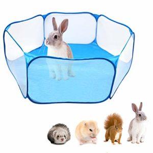 Fsskgxx Tente pour Petits Animaux, Parc portatif Ouvert pour enclos pour enclos pour Animaux domestiques pour cobayes, Lapins, Hamsters, Chinchillas et hérissons – Bleu