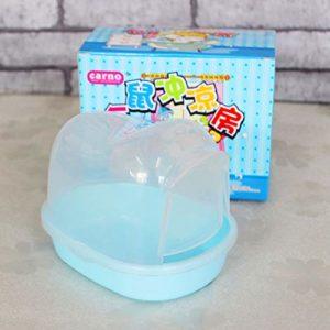 LanLan Hamster Salle de Bain pour Animal de Compagnie Lapin Chinchilla Rat Toilettes Compartiment de Nettoyage Bleu