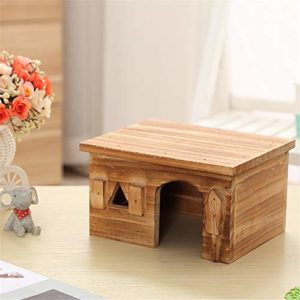 Maison Hamster Maison en Bois Hamster Cage Rat Maison Hamster Chinchilla Cochon d'Inde Jeux de Cabine (Color : Picture Color, Size : 19.5×14.5x11cm)