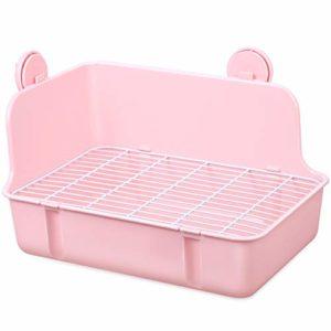 POPETPOP Toilette pour Petit Animal – Cage à Lapins Carrée en Plastique Boîte à Litière pour Litière Dangle Litière pour Petits Animaux/Lapins/Cobayes/Chinchilla/Furet/Galesaur