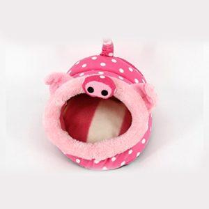 XuBa Ultra-Doux Court en Peluche Cochon d'Inde Hamster Mignon Animal Forme Chaude lit Maison Maison Cosy Tapis Mat avec PP Coton de Remplissage L Pink Pig
