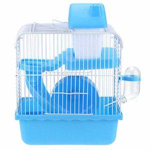 Youyababay Cage Habitat Petit Animal avec Accessoires, Rat Rongeur Pet Hutch Ferret Chinchilla Plate-Forme d'alimentation échelle de l'habitat de Base,Bleu