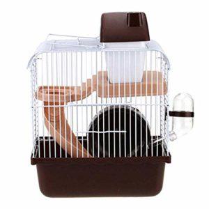 Youyababay Cage Habitat Petit Animal avec Accessoires, Rat Rongeur Pet Hutch Ferret Chinchilla Plate-Forme d'alimentation échelle de l'habitat de Base,Marron