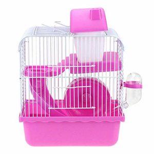 Youyababay Cage Habitat Petit Animal avec Accessoires, Rat Rongeur Pet Hutch Ferret Chinchilla Plate-Forme d'alimentation échelle de l'habitat de Base,Rose