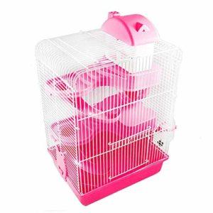 Youyababay Cage Hamster Métal Petits Animaux Rat Rongeur Pet Hutch Ferret Chinchilla Plate-Forme d'alimentation Échelle De L'habitat De Base,Rose