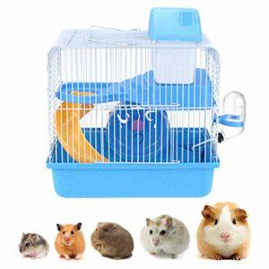 Youyababay Cage pour Hamsters et Petits rongeurs, Cage à Hamster avec Bol de Nourriture, Bouilloire, Roue de Course, réservoir pour Habitat,Bleu