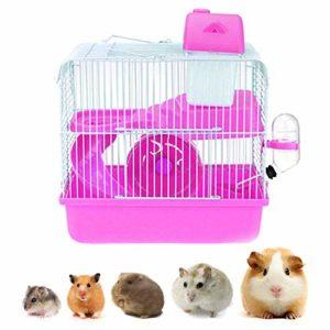 Youyababay Cage pour Hamsters et Petits rongeurs, Cage à Hamster avec Bol de Nourriture, Bouilloire, Roue de Course, réservoir pour Habitat,Rose