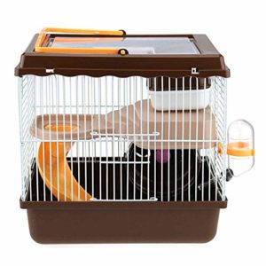 Youyababay Little Friends Savoy Gerbilarium Cage avec Accessoires, Rat Rongeur Pet Hutch Ferret Chinchilla Plate-Forme d'alimentation échelle de l'habitat de Base,Marron