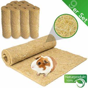 Lot de 9 tapis pour rongeurs 100 % chanvre 120 x 50 cm Épaisseur 5 mm