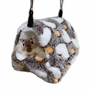 Oncpcare Hiver Chaud Lit Hamster Jouer Doux Hamster Hamac de Couchage Mignon Petits Animaux Nid à Suspendre Home Se Reposer pour Les Jeunes Cochon d'Inde octodon Drawl Hérisson