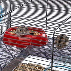 Ferplast Favola Cage Plastique Robuste et Métal, 2 Étages, Accessoires Inclus pour Hamsters, Maisonnette pour Petits Rongeurs, 60 x 36,5 x 30 cm Noir